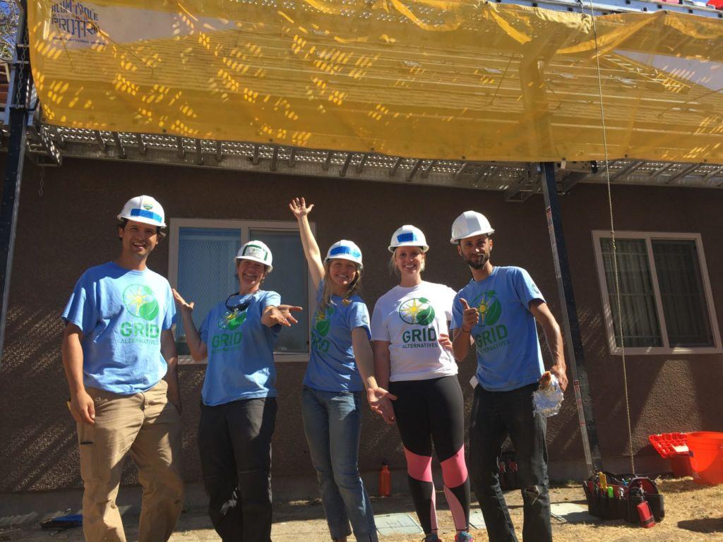 SCF Volunteers in Richmond, CA at a GRID Alternatives solar install.